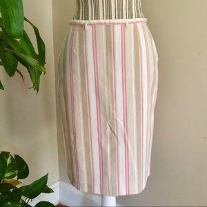 GAP Pink & Tan Striped Pencil Skirt Size 6